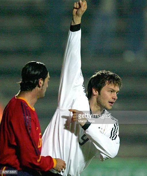 Laenderspiel 2003, Sa Pobla/Mallorca; Spanien - Deutschland ; Jubel nach Tor zum 0:1 Benjamin AUER/GER