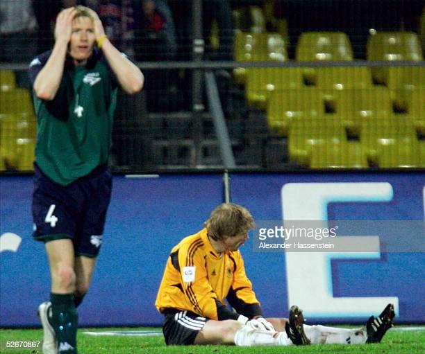 Laenderspiel 2005 Celje 260305 Slowenien Deutschland Matej MAVRIC/SVN enttaeuscht nach seiner Grosschance Torwart Oliver KAHN/GER