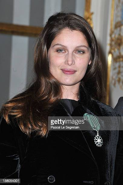 Laeticia Casta poses after being honored at Ministere de la Culture on February 1 2012 in Paris France