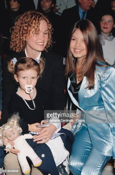 Laeticia Hallyday and her sister Margaux Thibaut attend with Severine Ferrer the fashion show Paris 17th october 1997