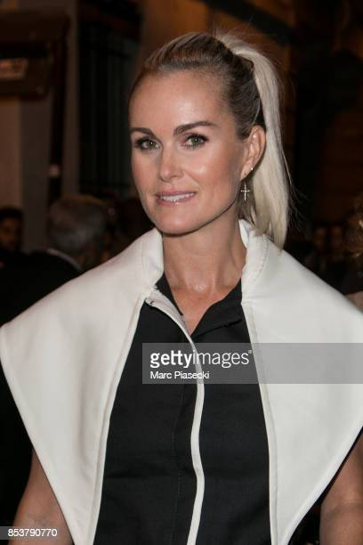Laeticia Hallyday attends the Jacquemus show as part of the Paris Fashion Week Womenswear Spring/Summer 2018 on September 25 2017 in Paris France