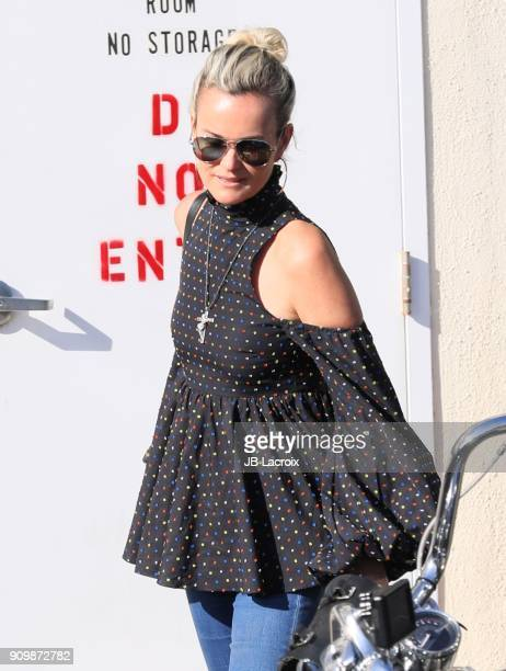 Laeticia Hallyday is seen on January 24 2018 in Los Angeles California