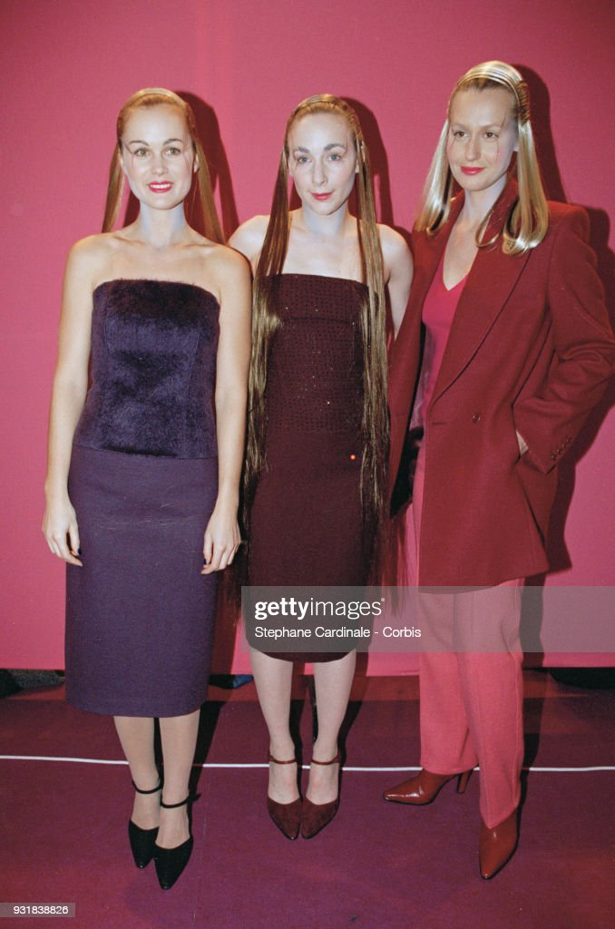 Laeticia Hallyday (left), Julie Depardieu (center) and Luana Belmondo (right), one-day models, Paris, 13th March 1998