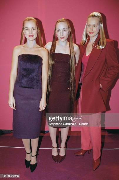 Laeticia Hallyday Julie Depardieu and Luana Belmondo oneday models Paris 13th March 1998