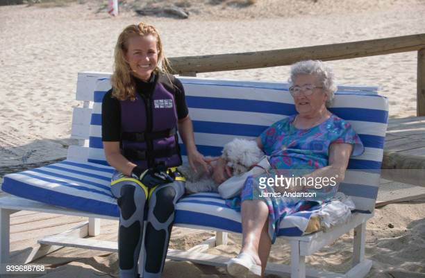 Laeticia Hallyday with her greatgrandmother Odette Boudou in St Tropez 23d July 1996