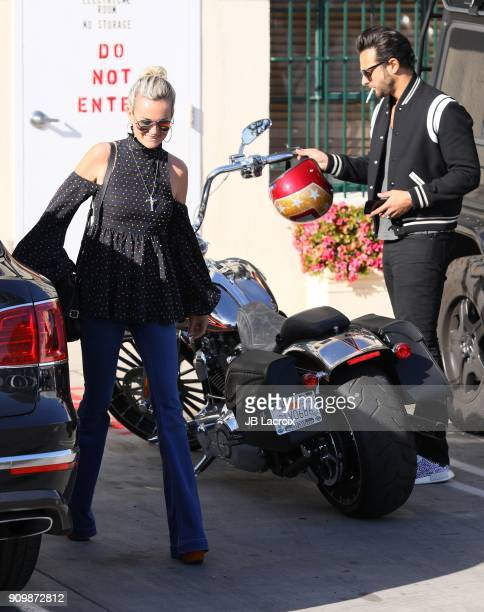 Laeticia Hallyday with Maxim Nucci aka Yodelice is seen on January 24 2018 in Los Angeles California