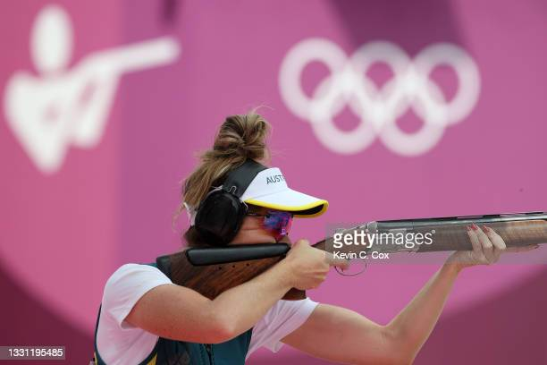Laetisha Scanlan of Team Australia during Trap Women's Qualification on day six of the Tokyo 2020 Olympic Games at Asaka Shooting Range on July 29,...