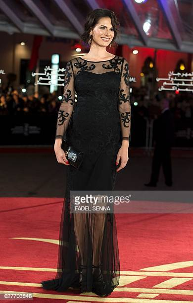 Laetitia Bleger arrives for the 16th Marrakech International Film Festival Opening Ceremony on December 4, 2016 in Marrakesh, Morocco. / AFP / FADEL...