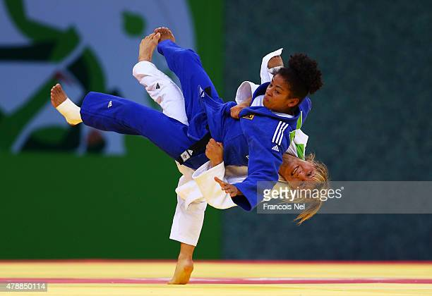 Laetitia Blot of France and Miryam Roper of Germany compete in the Women's Team gold medal match during day sixteen of the Baku 2015 European Games...