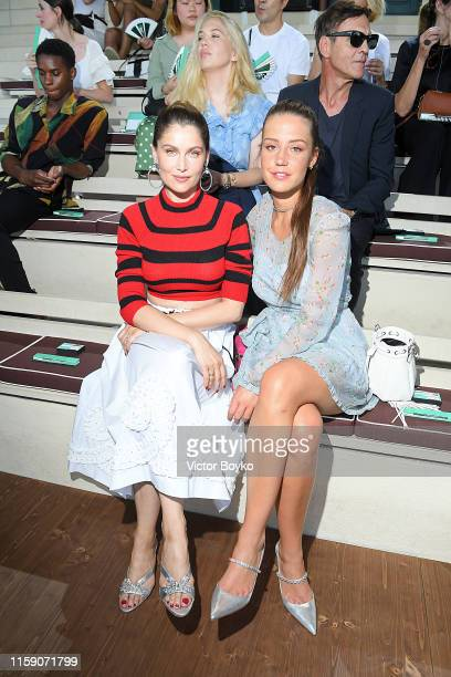Laetitia Casta and Adele Exarchopoulos attend Miu Miu club event at Hippodrome d'Auteuil on June 29 2019 in Paris France