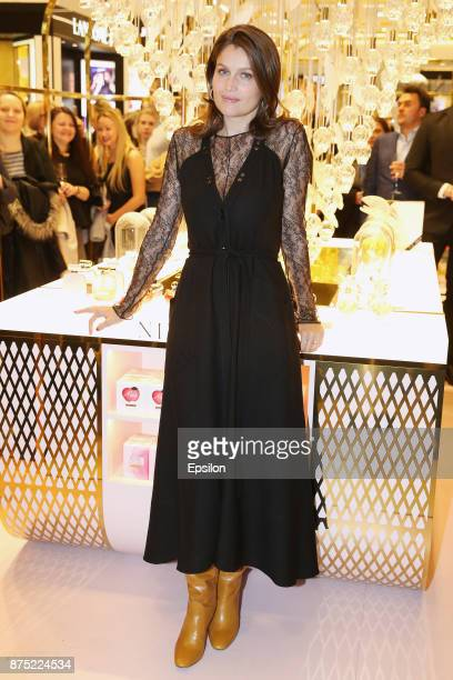 Laetitia Casta arrives at the opening of the popup corner Nina Ricci in TSUM in time of the fashion house Nina Ricci 85th anniversary celebration on...