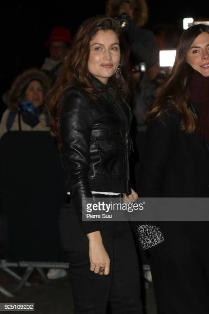 Laetitia Casta arrives at the Saint Laurent show as part of the Paris Fashion Week Womenswear Fall/Winter 2018/2019 on February 27 2018 in Paris...