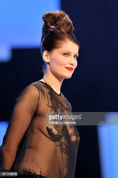 Laetitia Casta arrives on stage during the 35th Cesar Film Awards at the Theatre du Chatelet on February 27, 2010 in Paris, France.