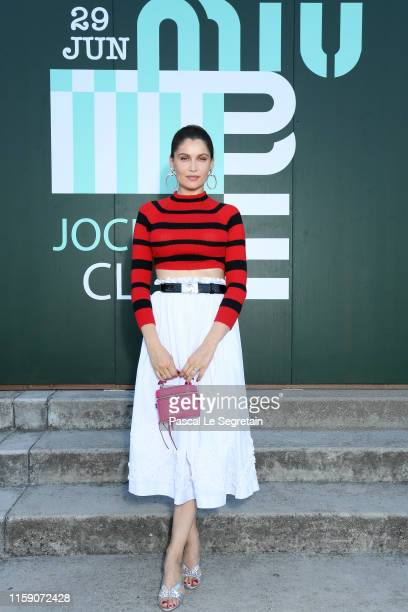 Laetitia Casta attends miu miu club event at Hippodrome d'Auteuil on June 29 2019 in Paris France