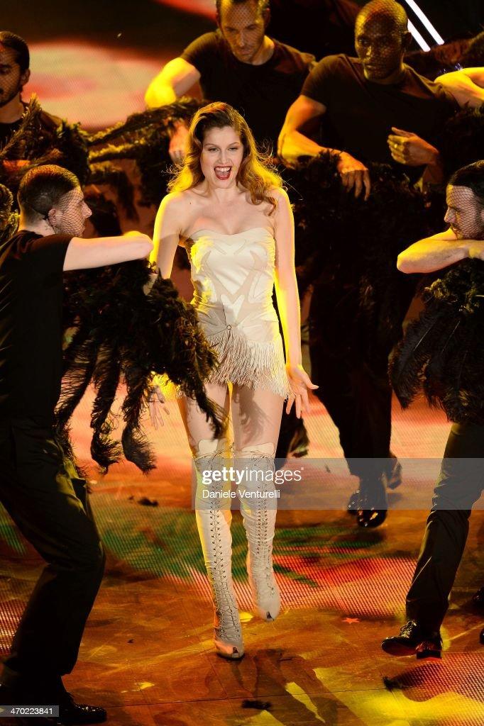 Laetitia Casta attends opening night of the 64th Festival di Sanremo 2014 at Teatro Ariston on February 18, 2014 in Sanremo, Italy.