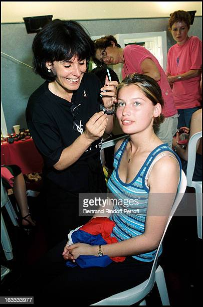 Laetitia Casta backstage at Backstage At Yves Saint Laurent Fashion Show At The Stade De France In Paris 1998