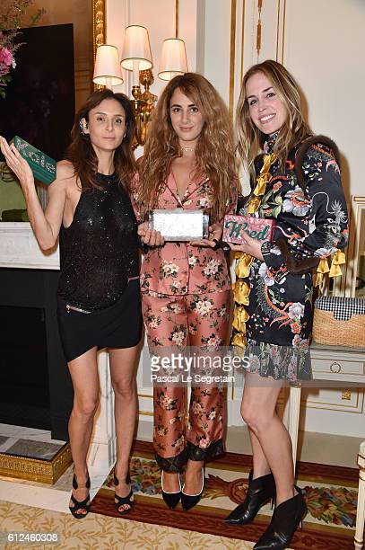 Laetitia Crahay Alexia Niedzelski and Brett Heyman attend the Edie Parker SS'17 Collection 'Vices and Virtues' Diner as part of the Paris Fashion...