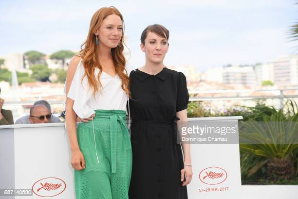 Laetitia Dosch and director Leonor Serraille attend the 'Jeune Femme' photocall during the 70th annual Cannes Film Festival at Palais des Festivals...
