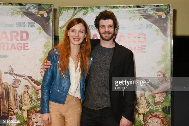 Laetitia Dosch and Felix Moati attend Ç Gaspard Va Au Mariage È Premiere at UGC Cite Les Halles on January 29 2018 in Paris France
