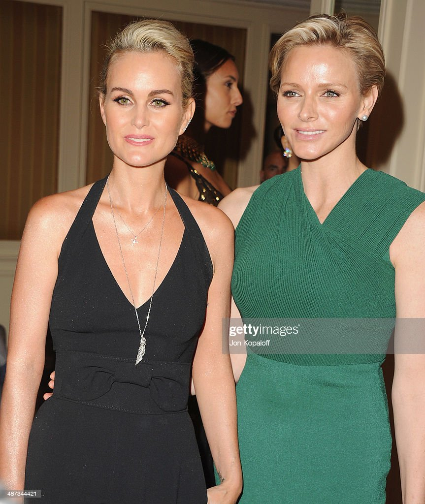 Laetitia Hallyday and her serene highness, Princess Charlene of Monaco attend The Colleagues' 26th Annual Spring Luncheon at Regent Beverly Wilshire Hotel on April 29, 2014 in Beverly Hills, California.