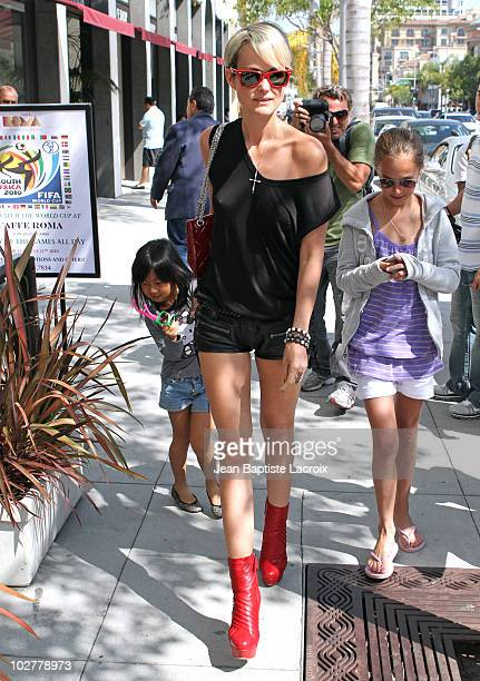 Laetitia Hallyday and Jade are seen in Beverly Hills on July 9 2010 in Los Angeles California