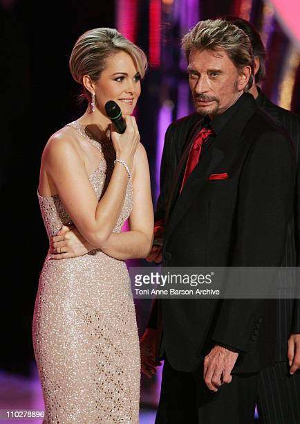 Laetitia Hallyday and Johnny Hallyday during Miss France 2006 Pageant at Palais des Festivals in Cannes France