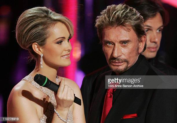 Laetitia Hallyday and Johnny Hallyday during Miss France 2006 Pageant at Palais des Festivals in Cannes, France.