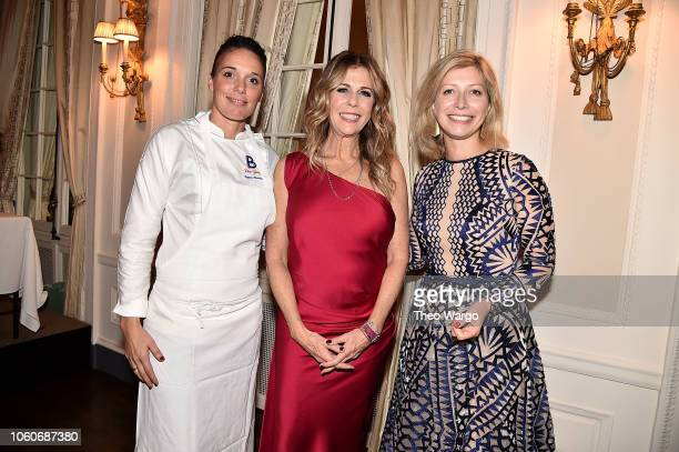 Laetitia Rouabah Rita Wilson and French Consul General in NY AnneClaire Legendre attend the 2018 American Friends of Blerancourt Dinner on November 9...