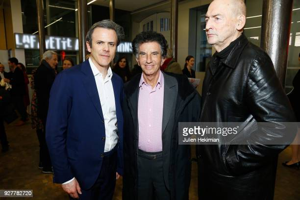 Lafayette Anticipations President Guillaume Houze former Minister for Culture Jack Lang and Architect Rem Koolhaas attend the Lafayette Anticipations...