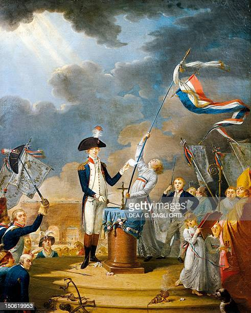 Lafayette at the celebraation of the Federation on the first anniversary of Bastille Day French Revolution France 18th century