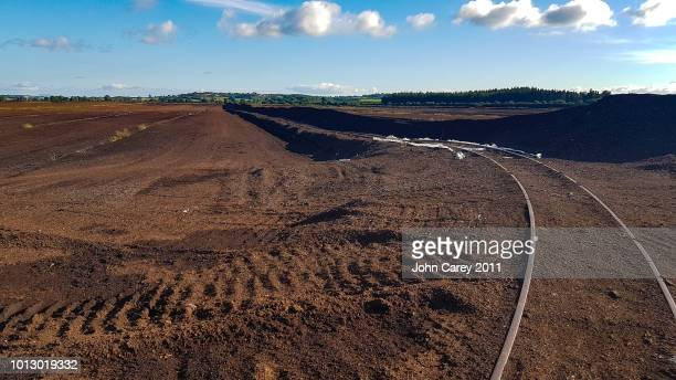 Laffansbridge bridge peat bog landscape with train tracks, Thurles,  Co Tipperary,  Ireland