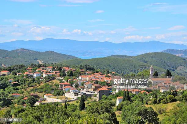lafkos village - volos stock pictures, royalty-free photos & images