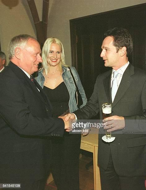 Lafontaine, Oskar *- Politiker, D - an seinem 60. Geburtstag im Rathausfestsaal in Saarbruecken, Heiko Maas, Vorsitzender der SPD Saarland...