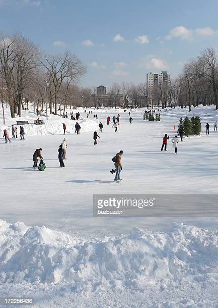 lafontaine park ice rink - buzbuzzer stock pictures, royalty-free photos & images