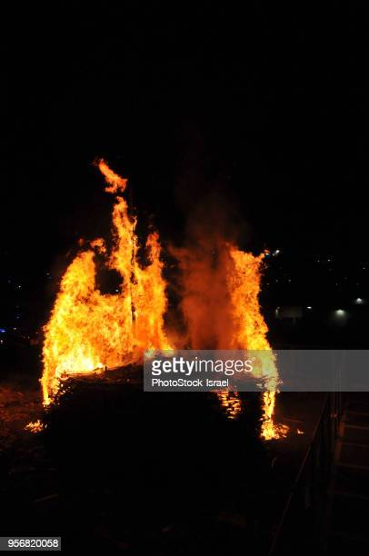 lag baomer bonfire - bon fire stock photos and pictures