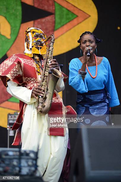 Lagbaja from Nigeria performs on stage at the New Orleans Jazz and Heritage Festival on April 24 2015 in New Orleans United States