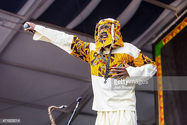 Lagbaja performs at the New Orleans Jazz Heritage Festival at the Fair Grounds Race Course on April 24 2015 in New Orleans Louisiana
