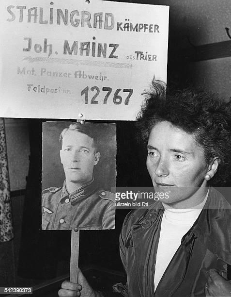 Lager Friedland Frau sucht vermissten Mann Stalingrad Kämpfer Joh Mainz aus Trier Mot Panzer Abwehr Feldpostnr 12767 1955