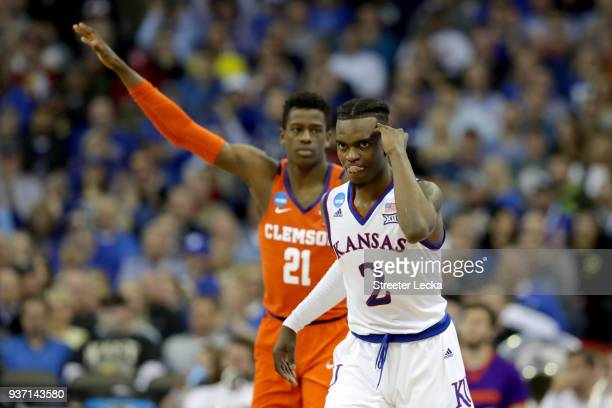 Lagerald Vick of the Kansas Jayhawks celebrates a three point basket against the Clemson Tigers during the first half in the 2018 NCAA Men's...