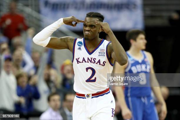 Lagerald Vick of the Kansas Jayhawks celebrates a three point basket against the Duke Blue Devils during the second half in the 2018 NCAA Men's...