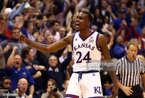 Lagerald Vick of the Kansas Jayhawks celebrates after making a threepointer during the game against the Stanford Cardinal at Allen Fieldhouse on...