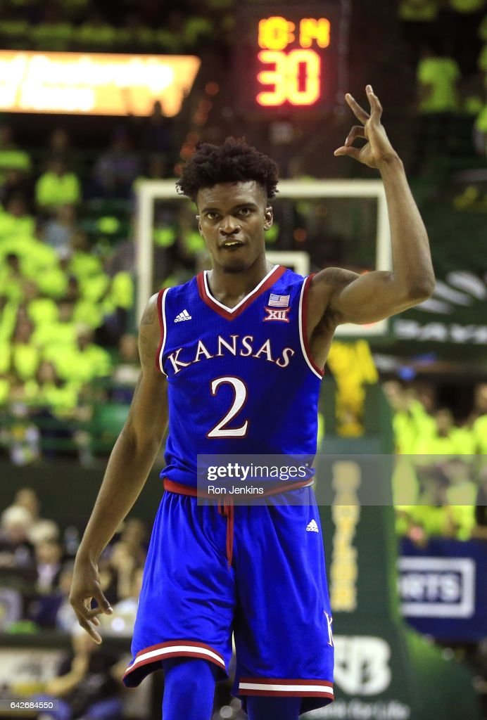 Lagerald Vick #2 of the Kansas Jayhawks celebrates as Kansas plays the Baylor Bears in the second half at the Ferrell Center on February 18, 2017 in Waco, Texas. Kansas won 67-65.