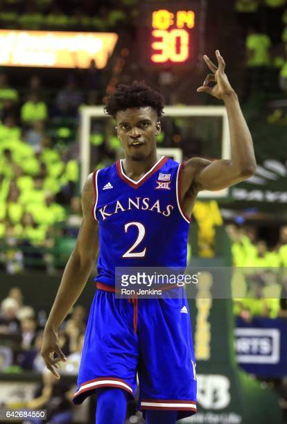 Lagerald Vick of the Kansas Jayhawks celebrates as Kansas plays the Baylor Bears in the second half at the Ferrell Center on February 18 2017 in Waco...
