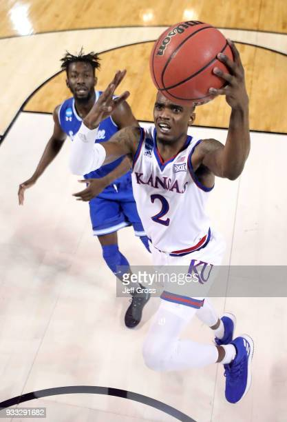Lagerald Vick of the Kansas Jayhawks drives to the basket against Seton Hall during the second round of the 2018 NCAA Men's Basketball Tournament at...