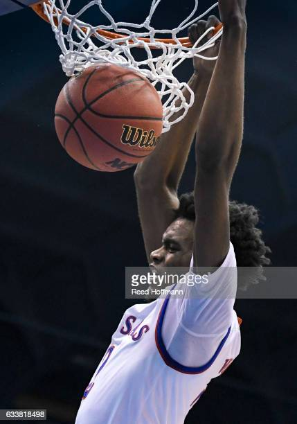 Lagerald Vick of the Kansas Jayhawks dunks against the Iowa State Cyclones on February 4 2017 at Allen Field House in Lawrence Kansas