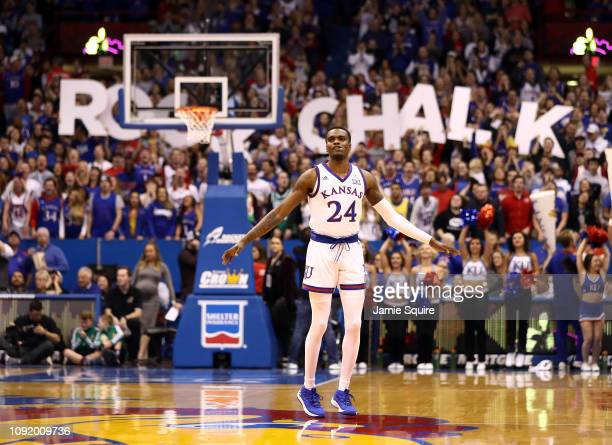 Lagerald Vick of the Kansas Jayhawks pumps up the crowd prior to the start of the game against the TCU Horned Frogs at Allen Fieldhouse on January 09...