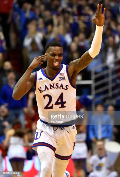 Lagerald Vick of the Kansas Jayhawks reacts after making a basket against the Texas Longhorns in the second half at Allen Fieldhouse on January 14...