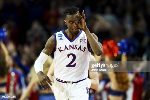Lagerald Vick of the Kansas Jayhawks reacts after making a three point shot in the second half against the Pennsylvania Quakers during the first...