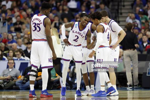 Lagerald Vick of the Kansas Jayhawks talks to his team against the Clemson Tigers during the second half in the 2018 NCAA Men's Basketball Tournament...