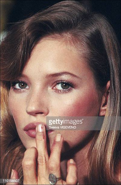 Lagerfeld fashion show with portrait of Kate Moss in the backstage of the Spring Summer fashion in Paris, France in 1994.